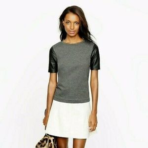 J Crew grey tshirt with faux leather sleeves Small